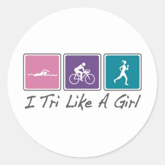 i tri like a girl (Triathlete) Round Stickers