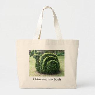 I trimmed my bush. Garden snail fun tote bag.
