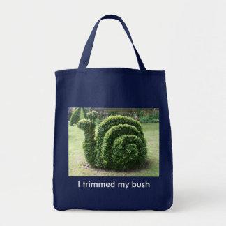 I trimmed my bush. Green snail fun shopping bag.