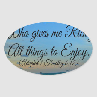 I trust in the living God Oval Sticker