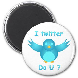 I TWITTER, DO U ? by SHARON SHARPE 6 Cm Round Magnet