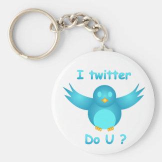 I TWITTER, DO U ? by SHARON SHARPE Basic Round Button Key Ring