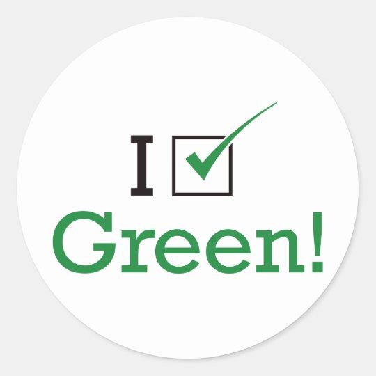 I Vote Green Classic Round Sticker
