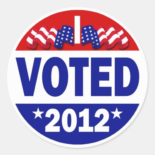 I Voted 2012 Round Sticker