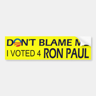 I voted for Ron Paul bumpersticker Bumper Sticker