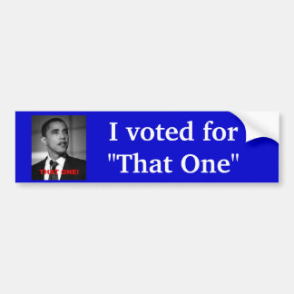 I voted for that one Obama Bumper Sticker