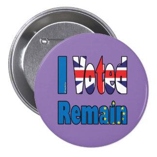 """I Voted Remain"" badge EU referendum"