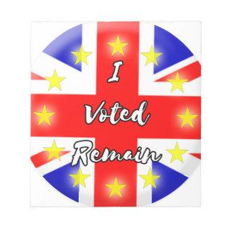 I voted Remain History Notepad