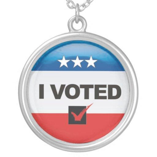 I Voted Round Pendant Necklace