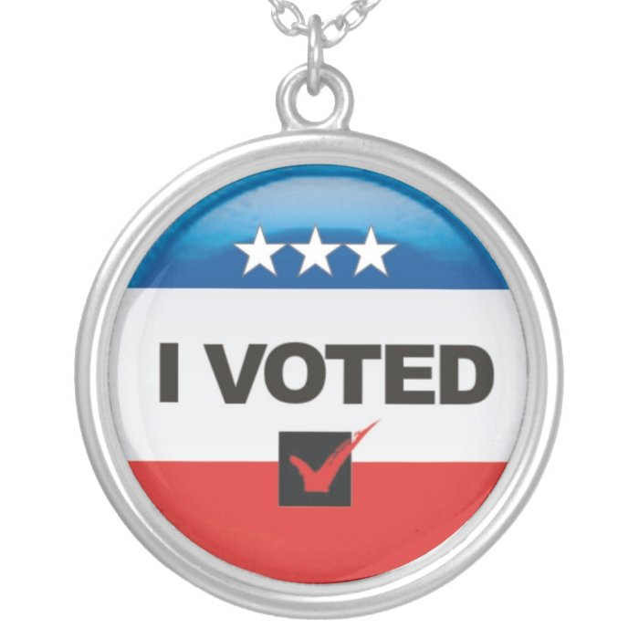 I Voted Silver Plated Necklace