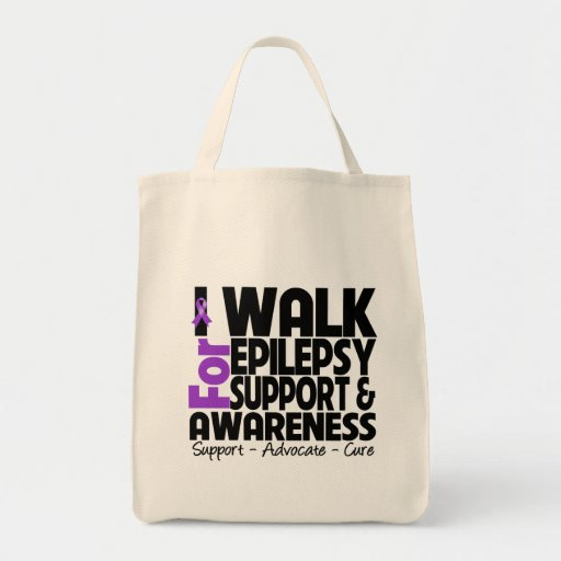 I Walk For Epilepsy Awareness Tote Bags