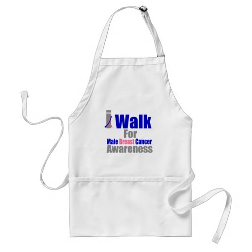 I Walk For Male Breast Cancer Awareness Aprons