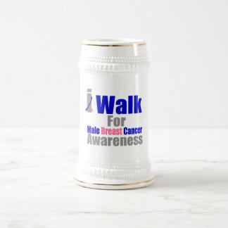 I Walk For Male Breast Cancer Awareness 18 Oz Beer Stein