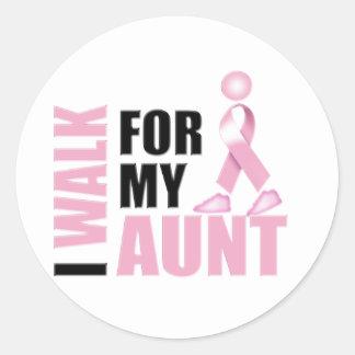 I Walk for my Aunt Pink Round Sticker