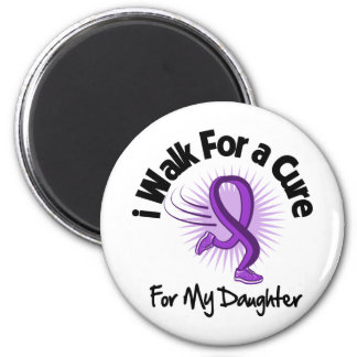 I Walk For My Daughter - Purple Ribbon 6 Cm Round Magnet