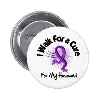 I Walk For My Husband - Purple Ribbon 6 Cm Round Badge