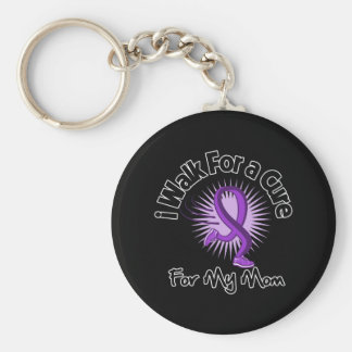 I Walk For My Mom - Purple Ribbon Basic Round Button Key Ring