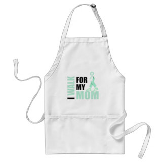 I Walk for my Mom teal Aprons