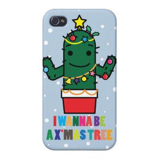 I Wanna be a X mas Tree Cactus Funny iPhone 4 Case