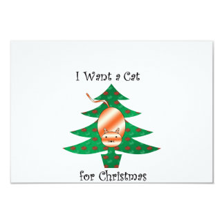 I want a cat for christmas 9 cm x 13 cm invitation card