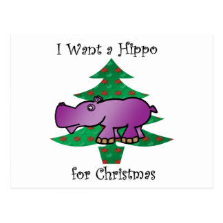 I want a hippo for christmas postcard