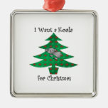I want a koala for christmas Silver-Colored square decoration