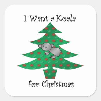 I want a koala for christmas square sticker