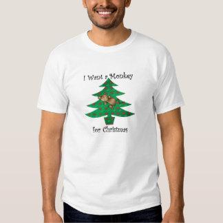 I want a monkey for christmas tshirts
