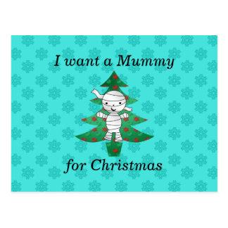 I want a mummy for christmas postcard