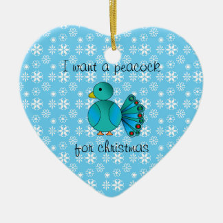 I want a peacock for christmas heart ornament