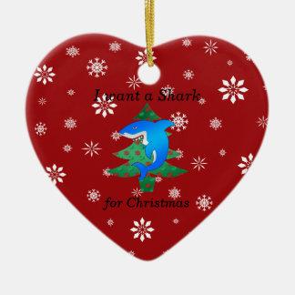 I want a shark for christmas christmas ornament