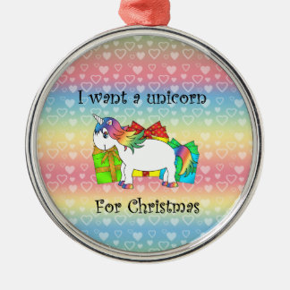 I want a unicorn for Christmas on rainbow hearts Christmas Ornament