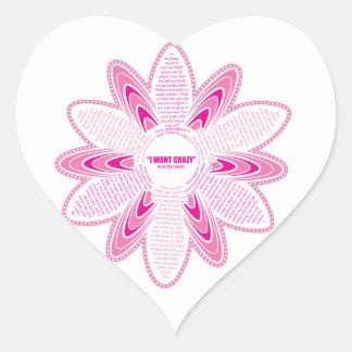 I want crazy, Pink Daisy Heart Sticker