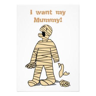I Want My Mummy Funny Mummy Halloween Personalized Invitation