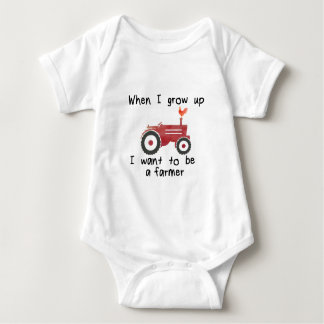 I want to be a farmer, red tractor & rooster baby bodysuit