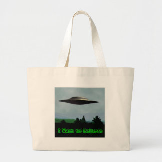 I want to believe large tote bag