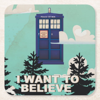 I Want to Believe Vintage Police Box Square Paper Coaster