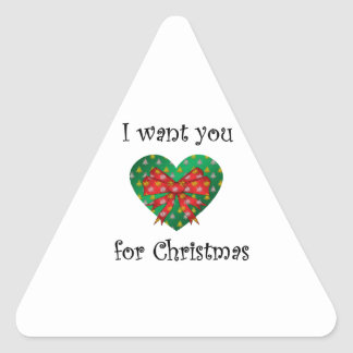 I want you for christmas heart red bow triangle sticker