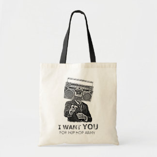 I want you for hip-hop army budget tote bag