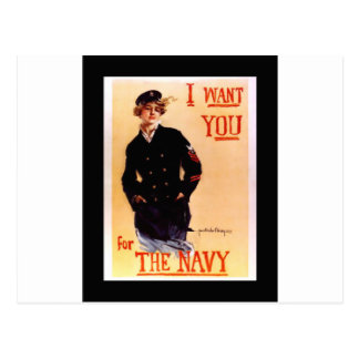 I Want You For The Navy ~ WW I US Poster 1917 Postcard