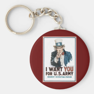 I Want You! For the United States Army Basic Round Button Key Ring