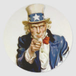 I Want You for U.S. Army by James Montgomery Flagg Round Stickers