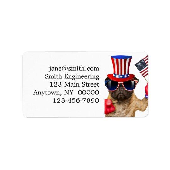 I want you ,pug ,uncle sam dog, address label