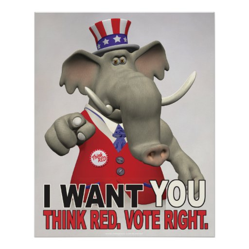 I Want You - Think Red Vote Right Poster