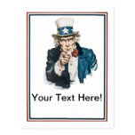 I Want You Uncle Sam Customise Your Text Postcard