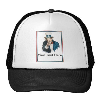 I Want You Uncle Sam Customize Your Text Mesh Hats