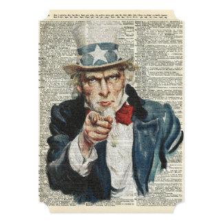 I Want You Uncle Sam 13 Cm X 18 Cm Invitation Card