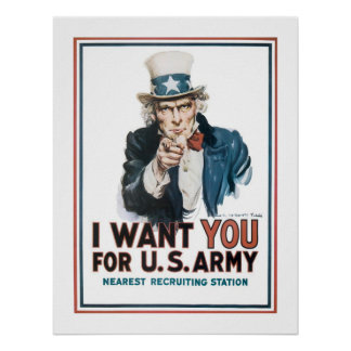 """I Want YOU"" Uncle Sam (white) Poster"