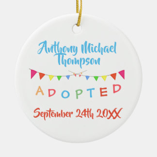 I was Adopted Banners Custom Name-Date Christmas Ornament