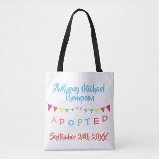 I was Adopted Banners Custom Name-Date Tote Bag